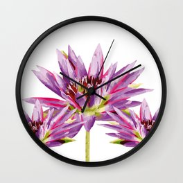 Violet Lotos - Lotus Water Lilies Flowers I Wall Clock