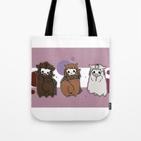 nori Tote Bags featuring Dwarpaca family #3 by Lady Cibia