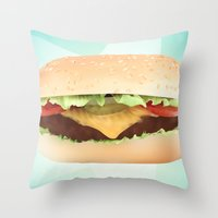 hamburger Throw Pillows featuring Hamburger by Tyler Keff Beasley