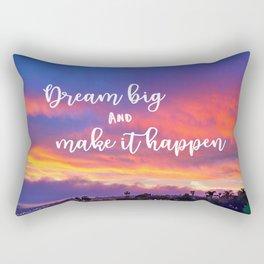 """Dream big & make it happen"" quote pink, yellow & blue sunrise Rectangular Pillow"