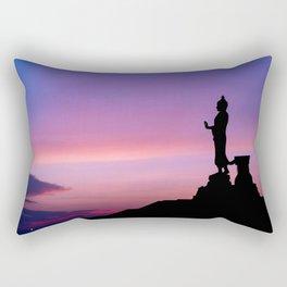 Silhouette of big statue of Buddha Rectangular Pillow