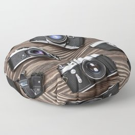 Collection of retro photo cameras on  wood Floor Pillow