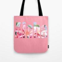 aloha Tote Bags featuring Aloha by Sharon Mau