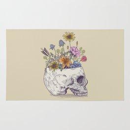 Half Skull Flowers Rug