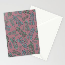 Pink, blue and green leaf pattern Stationery Cards