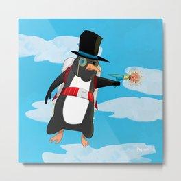 Professor Jetpack Penguin. Esquire.  Metal Print