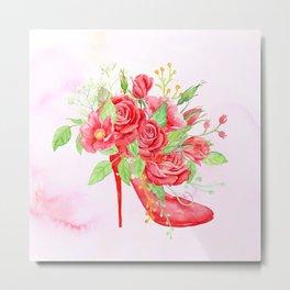 Watercolor Red Rose Shoe Metal Print