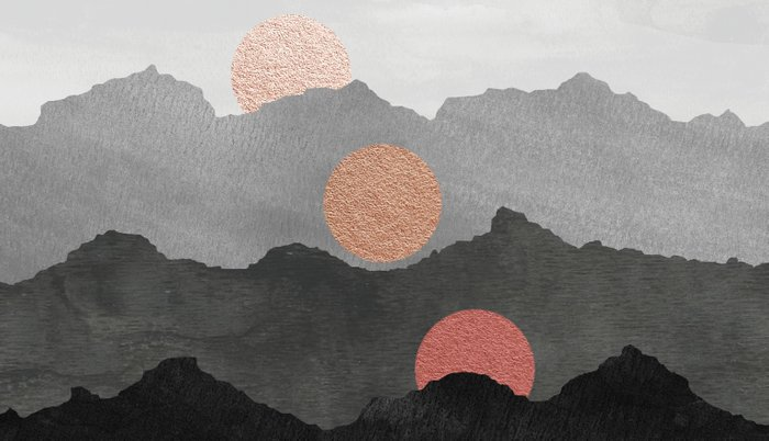 Abstract Mountains // Shades of Black and Grey Landscape Full Metallic Gold Moon Pillow Sham