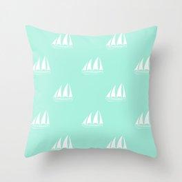 White Sailboat Pattern on seafoam blue background Throw Pillow