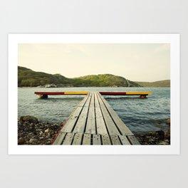 Pier in Caribbean lake Art Print