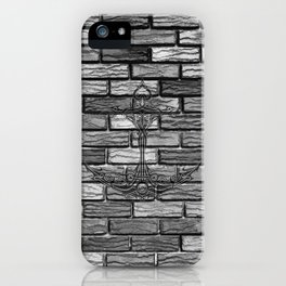 Black Anchor Brickwall iPhone Case
