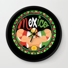 Mexican Wrestler Lucha Libre graphic for Mexican Wrestling Wall Clock