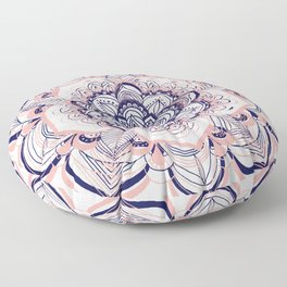 Woven Dream - Mandala in Pink, White and deep Purple Floor Pillow