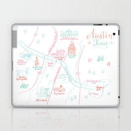 Austin, Texas Illustrated Calligraphy Map Laptop & iPad Skin