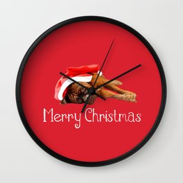 Dogue De Bordeaux Santa Hat Merry Christmas Wall Clock