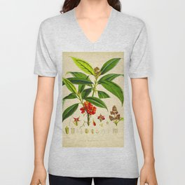 Vintage Scientific Botanical Illustration Species Drawing Himalayan Plants Green Leaves Red Berries Unisex V-Neck