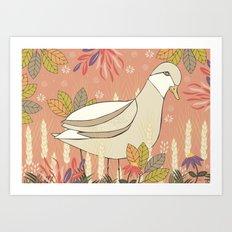 Duck in Wheat Field  Art Print