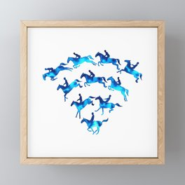 Connected to Showjumping (Blue) Framed Mini Art Print