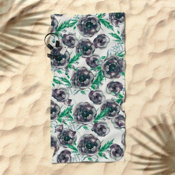 Black Poppies Beach Towel
