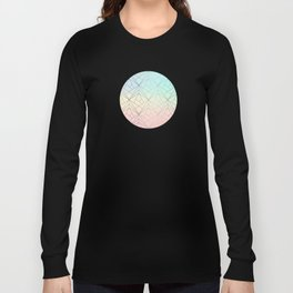 Geometric Silver Pattern on Pastel Gradient Long Sleeve T-shirt