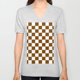 Checkered - White and Chocolate Brown Unisex V-Neck