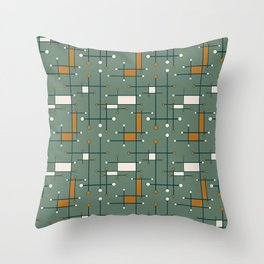 Intersecting Lines in Olive Green and Orange Throw Pillow