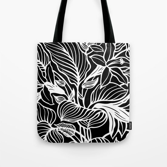 Black White Floral Tote Bag