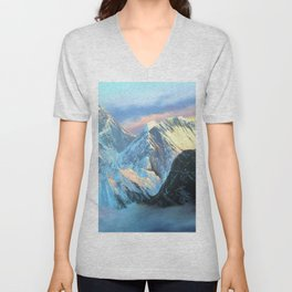 Panoramic Sunrise View Of Everest Mountain Unisex V-Neck