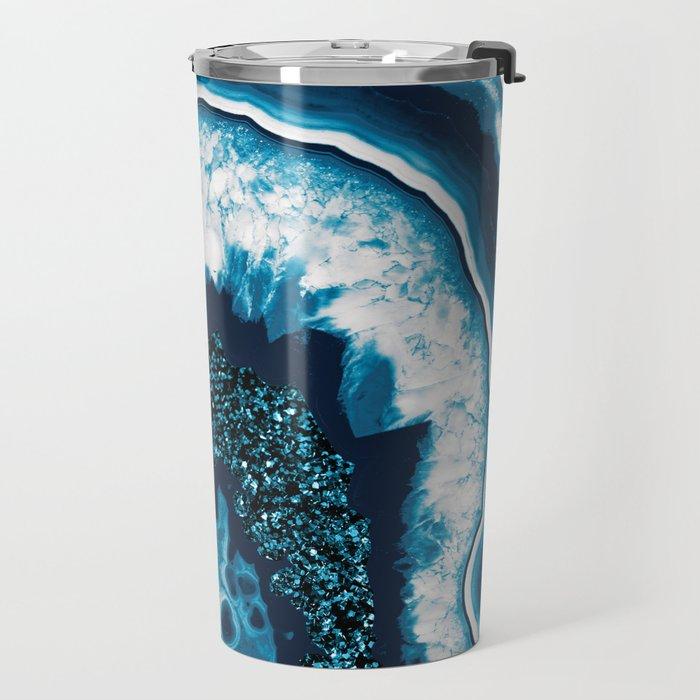 Blue White Agate with Blue Glitter #1 #gem #decor #art #society6 Travel Mug