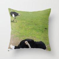 ostrich Throw Pillows featuring ostrich by Ezgi Kaya