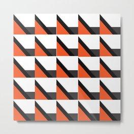 Orange Houndstooth Metal Print