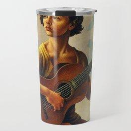 Classical Masterpiece 'Jesse with Guitar' by Thomas Hart Benton Travel Mug