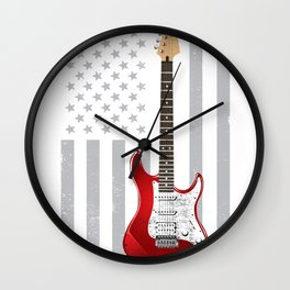 Distressed USA Electric Guitar T-Shirt Cool Retro Vintage Punk Rock Novelty Gift Tee Shirt Wall Clock