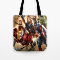 avenger Tote Bags featuring The Avenger by Tania Joy