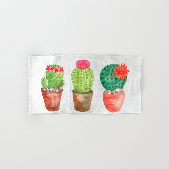 Three Cacti watercolor white Hand & Bath Towel
