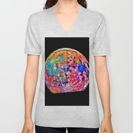 Colorful Moon Surface Unisex V-Neck