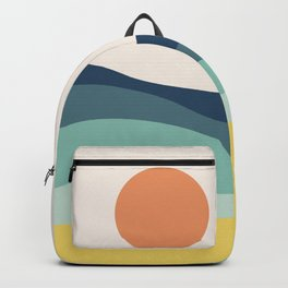 Abstract landscape with sea and sun Backpack
