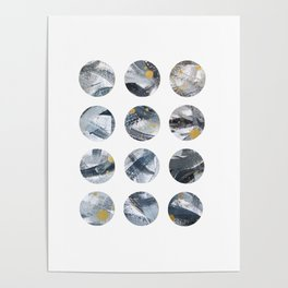 Gray and Gold Abstract Space Dots Poster