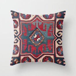 Cartouche Star II // 19th Century Colorful Red Blue Western Santa Fe Cowboy Style Ornate Accent Patt Throw Pillow