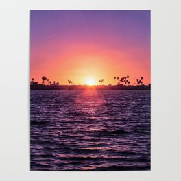 Mission Bay Palm Tree Sunset in San Diego, California Poster