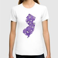 new jersey T-shirts featuring New Jersey in Flowers by Ursula Rodgers