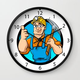 miner hold the pick axe Wall Clock