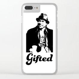 Gifted Micky Blk on Wht Clear iPhone Case