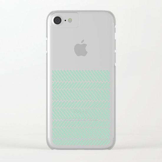 Herringbone Mint Boarder Clear iPhone Case