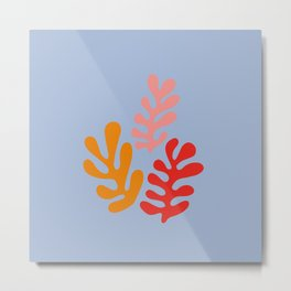 Finest French Matisse style art. Color fluid leaves. Metal Print