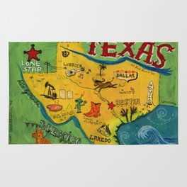 Postcard from Texas print Rug