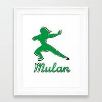 mulan Framed Art Prints featuring Mulan by husavendaczek