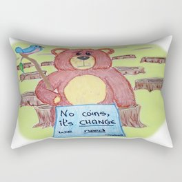 Sad bear & friend Rectangular Pillow