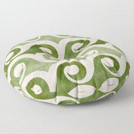 Vintage Wave Woodblock  - Green Pattern Floor Pillow