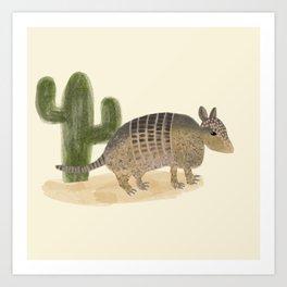 Desert Armadillo and Cactus Illustation Art Print